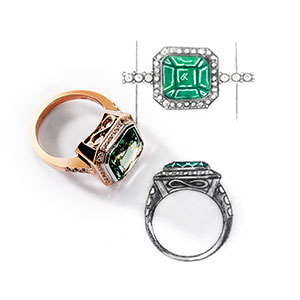 Coloured gemstone ring. Coloured gemstone design. David Benn Fine Jewellery, Sydney, Australia.